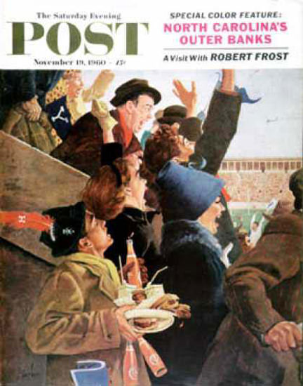 Saturday Evening Post Copyright 1960 Yale Vs Harvard | Vintage Ad and Cover Art 1891-1970