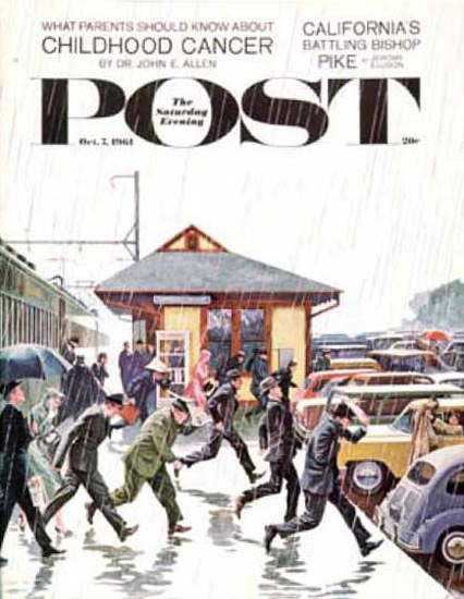 Saturday Evening Post Copyright 1961 Commuters In Rain | Vintage Ad and Cover Art 1891-1970