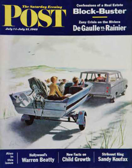 Saturday Evening Post Copyright 1962 Highway Boatride | Vintage Ad and Cover Art 1891-1970