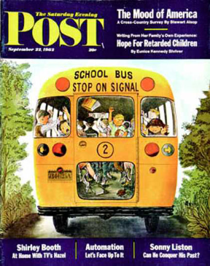 Saturday Evening Post Copyright 1962 School Bus Blegvard | Vintage Ad and Cover Art 1891-1970