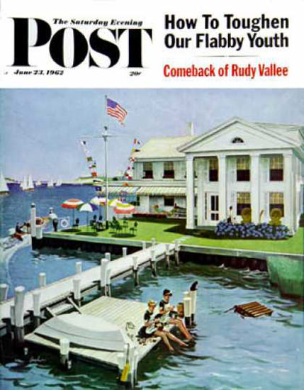 Saturday Evening Post Copyright 1962 Yacht Club Hughes | Vintage Ad and Cover Art 1891-1970