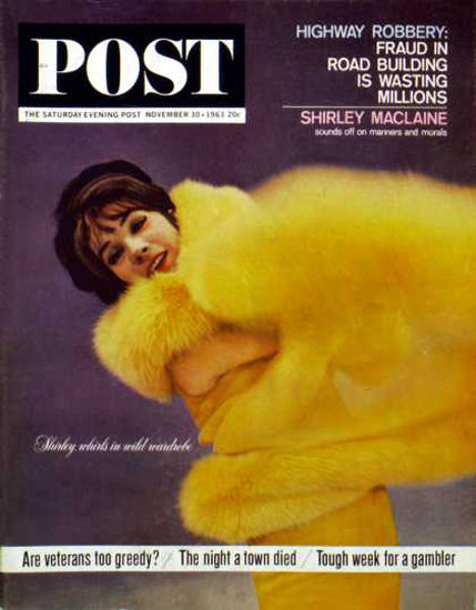 Saturday Evening Post Copyright 1963 Shirley MacLaine | Sex Appeal Vintage Ads and Covers 1891-1970