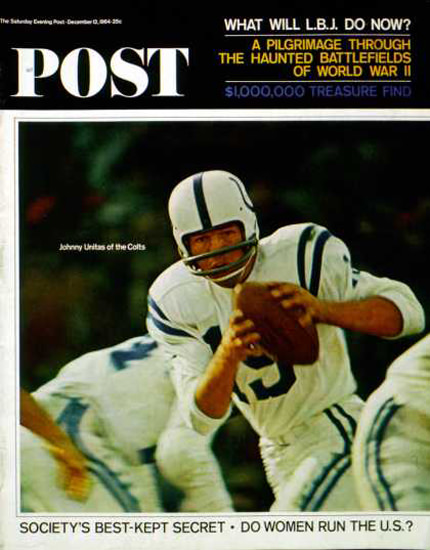 Saturday Evening Post Copyright 1964 Johnny Unitas Colts | Vintage Ad and Cover Art 1891-1970