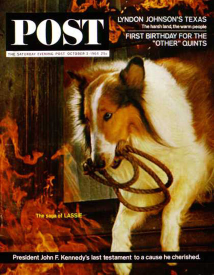 Saturday Evening Post Copyright 1964 Lassie Get Help | Vintage Ad and Cover Art 1891-1970