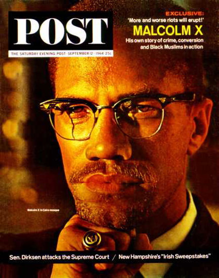 Saturday Evening Post Copyright 1964 Malcolm X Riots | Vintage Ad and Cover Art 1891-1970