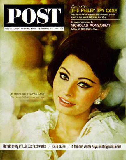 Saturday Evening Post Copyright 1964 Sophia Loren B Glinn | Sex Appeal Vintage Ads and Covers 1891-1970