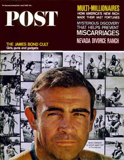 Saturday Evening Post Copyright 1965 Sean Connery Bond | Sex Appeal Vintage Ads and Covers 1891-1970