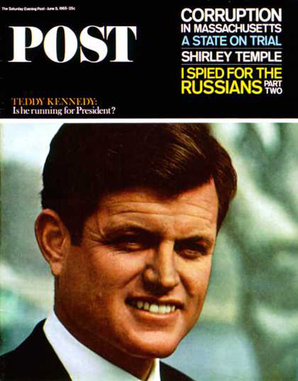 Saturday Evening Post Copyright 1965 Ted Kennedy | Vintage Ad and Cover Art 1891-1970