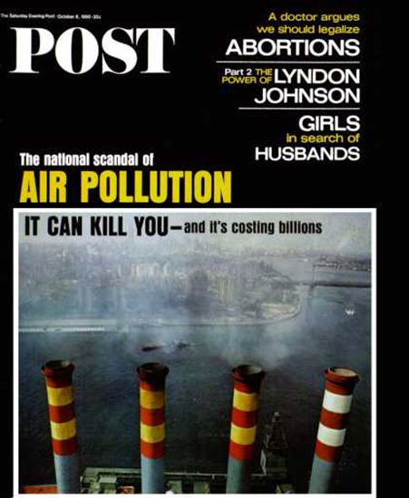 Saturday Evening Post Copyright 1966 Air Pollution | Vintage Ad and Cover Art 1891-1970