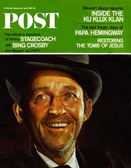 Saturday Evening Post Copyright 1966 Bing Crosby | Vintage Ad and Cover Art 1891-1970