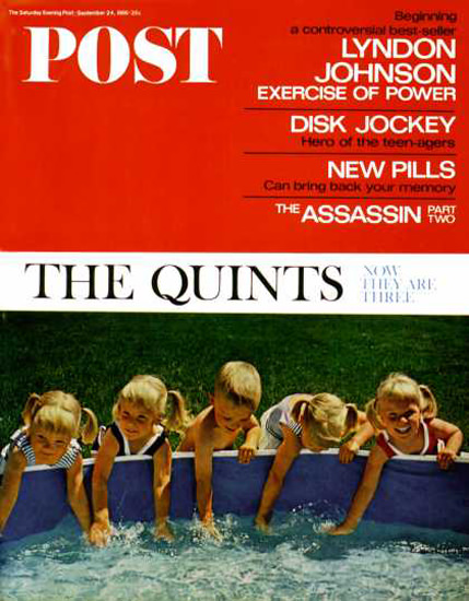 Saturday Evening Post Copyright 1966 Fischer Quints | Vintage Ad and Cover Art 1891-1970
