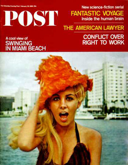 Saturday Evening Post Copyright 1966 Swing Miami Beach | Sex Appeal Vintage Ads and Covers 1891-1970