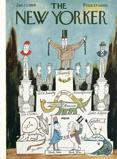 Saul Steinberg The New Yorker 1959_01_17 Copyright | The New Yorker Graphic Art Covers 1946-1970