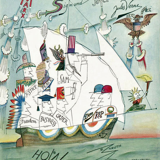 Saul Steinberg The New Yorker 1960_09_17 Copyright crop | Best of Vintage Cover Art 1900-1970