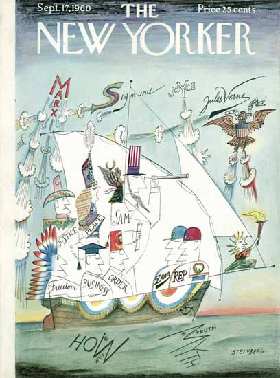 Saul Steinberg The New Yorker 1960_09_17 Copyright | The New Yorker Graphic Art Covers 1946-1970