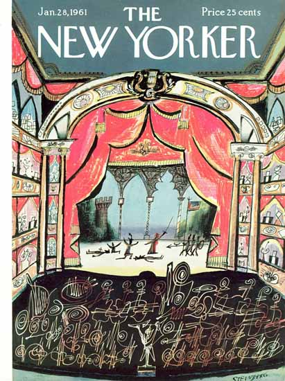Saul Steinberg The New Yorker 1961_01_28 Copyright | The New Yorker Graphic Art Covers 1946-1970