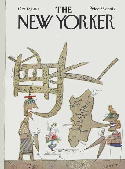 Saul Steinberg The New Yorker 1963_10_12 Copyright | The New Yorker Graphic Art Covers 1946-1970