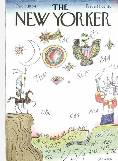 Saul Steinberg The New Yorker 1964_12_05 Copyright | The New Yorker Graphic Art Covers 1946-1970