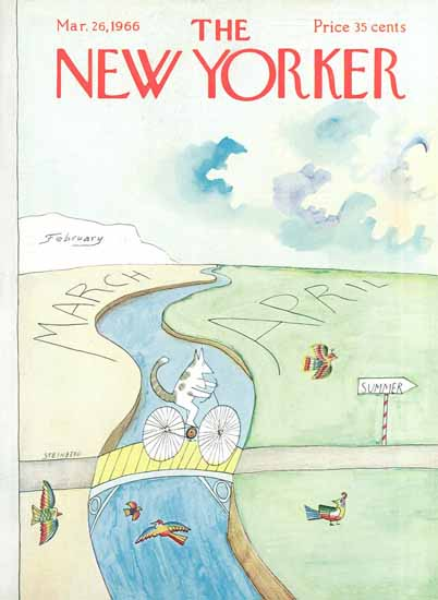 Saul Steinberg The New Yorker 1966_03_26 Copyright   The New Yorker Graphic Art Covers 1946-1970