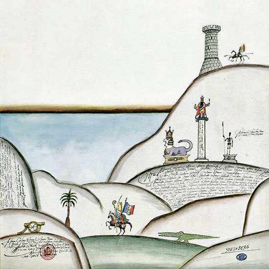 Saul Steinberg The New Yorker 1968_05_04 Copyright crop | Best of Vintage Cover Art 1900-1970