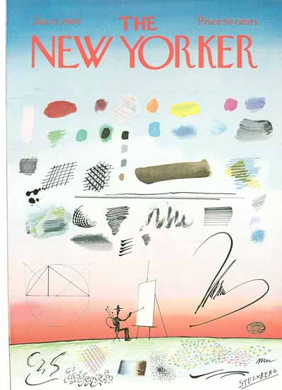 Saul Steinberg The New Yorker 1969_01_11 Copyright   The New Yorker Graphic Art Covers 1946-1970