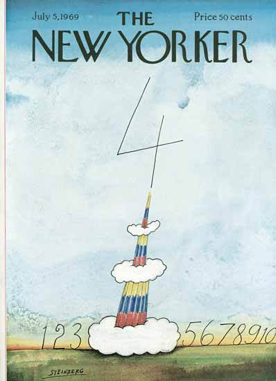 Saul Steinberg The New Yorker 1969_07_05 Copyright | The New Yorker Graphic Art Covers 1946-1970