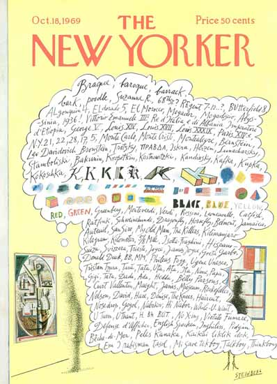 Saul Steinberg The New Yorker 1969_10_18 Copyright | The New Yorker Graphic Art Covers 1946-1970