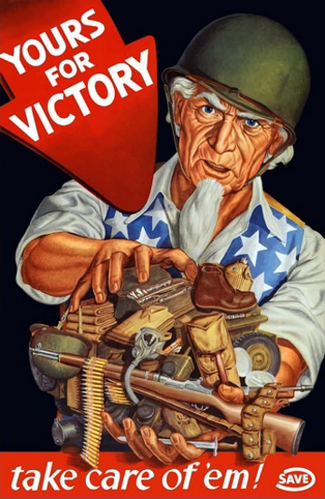 Save For Victory Save Uncle Sam Wearing Helmet | Vintage War Propaganda Posters 1891-1970