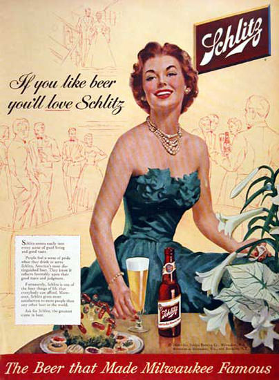 Schlitz Beer 1954 If You Like Beer Lady In Blue | Sex Appeal Vintage Ads and Covers 1891-1970