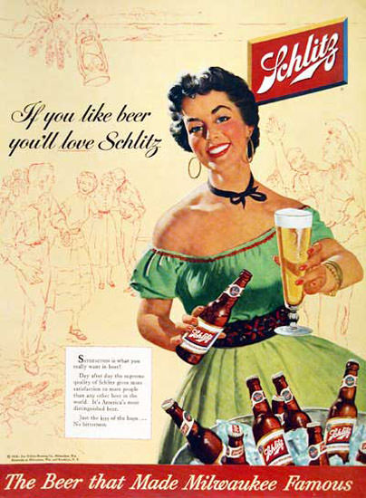 Schlitz Beer 1954 If You Like Beer Lady In Green | Sex Appeal Vintage Ads and Covers 1891-1970