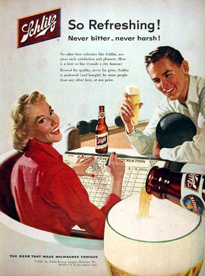 Schlitz Beer 1956 Bowling Never Bitter | Vintage Ad and Cover Art 1891-1970