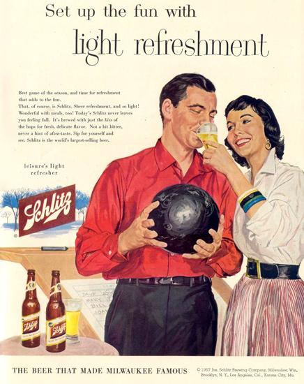 Schlitz Beer 1957 Bowling | Sex Appeal Vintage Ads and Covers 1891-1970