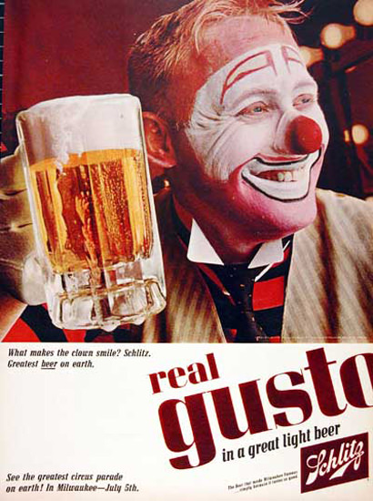 Schlitz Beer 1965 Clown Milwaukee Circus Parade | Vintage Ad and Cover Art 1891-1970