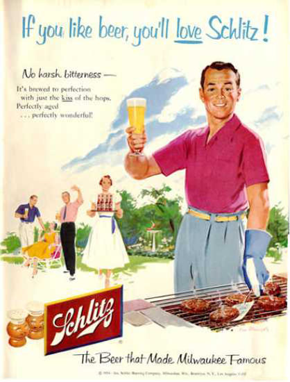 Schlitz Beer Barbecue 1954 | Vintage Ad and Cover Art 1891-1970