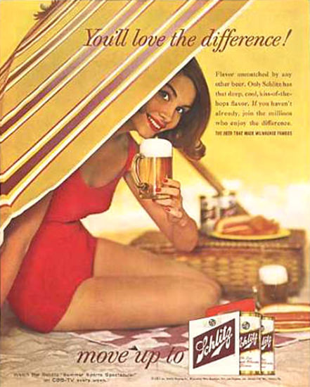Schlitz Beer Beach Girl Love The Difference 1961 | Sex Appeal Vintage Ads and Covers 1891-1970