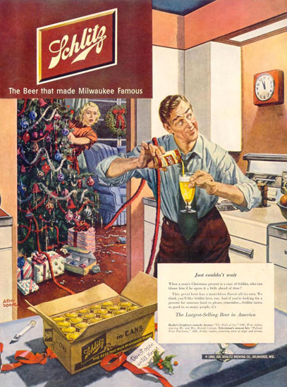 Schlitz Beer Christmas Present Kitchen 1950 | Vintage Ad and Cover Art 1891-1970