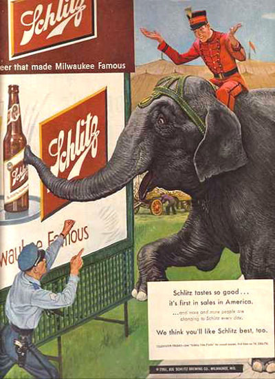 Schlitz Beer Circus Elephant 1951 | Vintage Ad and Cover Art 1891-1970