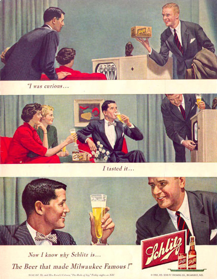 Schlitz Beer Cuious 1950 | Vintage Ad and Cover Art 1891-1970