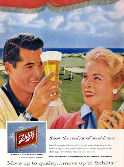 Schlitz Beer Golf Course Couple 1959 | Vintage Ad and Cover Art 1891-1970