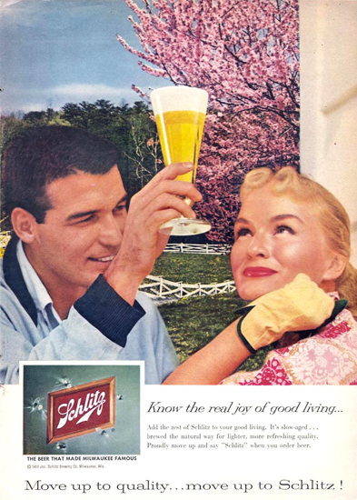 Schlitz Beer Horse Ranch Couple 1959 | Vintage Ad and Cover Art 1891-1970