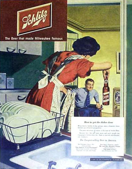 Schlitz Beer How To Get The Dishes Done 1951 | Sex Appeal Vintage Ads and Covers 1891-1970