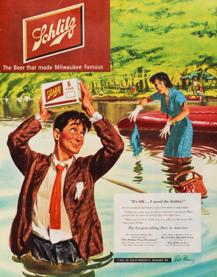 Schlitz Beer Its OK I Saved The Schlitz 1951   Sex Appeal Vintage Ads and Covers 1891-1970