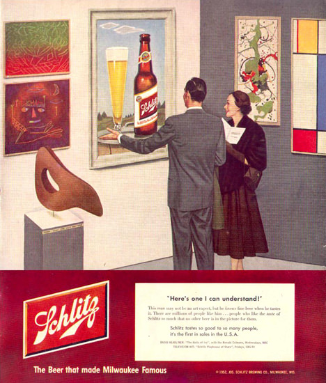 Schlitz Beer Modern Art Museum 1952 by John Falter | Vintage Ad and Cover Art 1891-1970