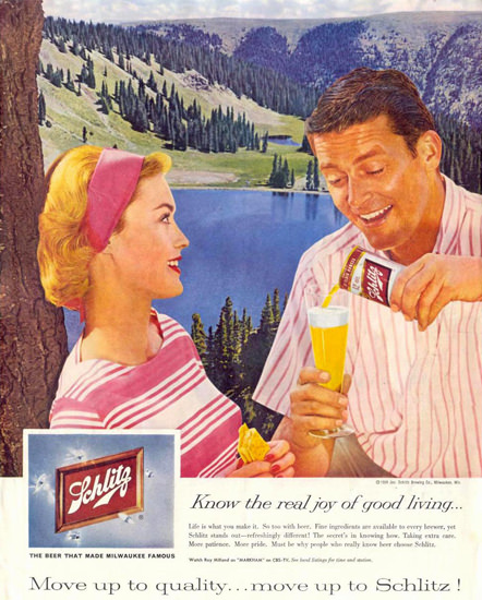 Schlitz Beer Mountain Lake Couple 1959 | Vintage Ad and Cover Art 1891-1970
