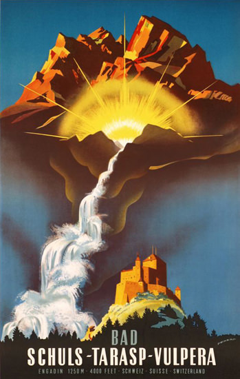 Schuls Tarasp Vulpera Bad Engadin Schweiz 1940 | Vintage Travel Posters 1891-1970