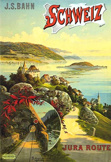 Schweiz J S Bahn Jura Route Switzerland 1895 | Vintage Travel Posters 1891-1970