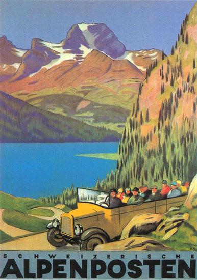 Schweizerische Alpenposten 1928 Emil Cardinaux | Vintage Travel Posters 1891-1970