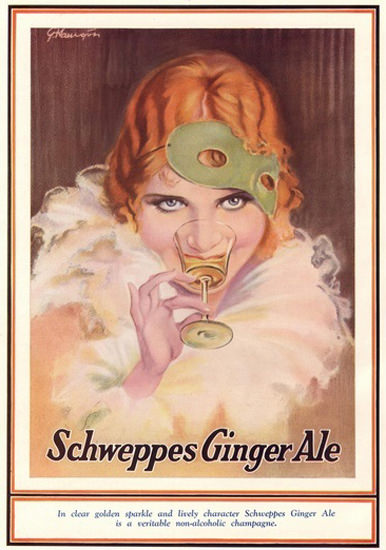 Schweppes Ginger Ale Girl NonAlc Champagne | Sex Appeal Vintage Ads and Covers 1891-1970