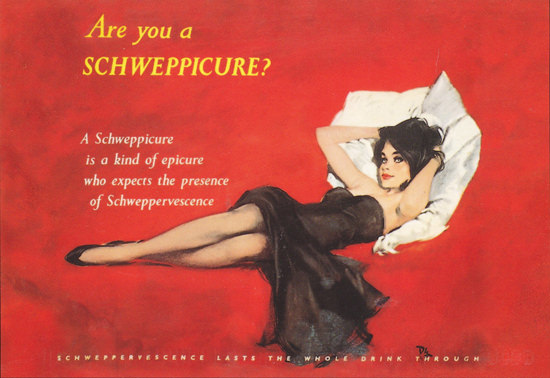Schweppes PinUp Girl Are You A Schweppicure | Sex Appeal Vintage Ads and Covers 1891-1970