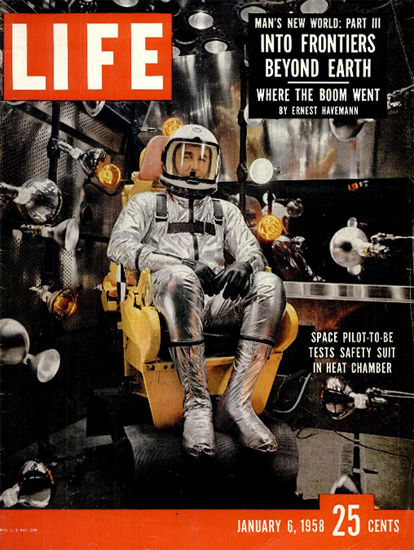 Scott Crossfield tries new Space Suit 6 Jan 1958 Copyright Life Magazine | Life Magazine Color Photo Covers 1937-1970